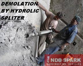 Demolation by Hydraulic Splitter